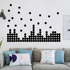 Black Wall Decals Polka Dots Vinyl Wall Stickers Round Circle Art Stickers Removable Metallic Hanging Decor Decorations For Nursery Room 200 Decals Circles Baby B076bdbbcx
