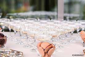 triangle shaped champagne glasses on