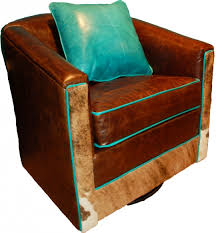buffalo leather swivel glider western