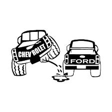 Chevy Truck Peeing Ford Vinyl Decal Sticker