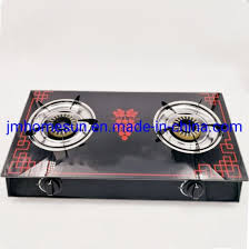 tempered glass top cast iron two