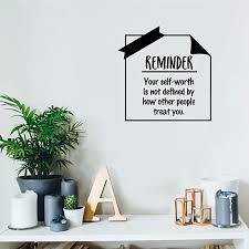 Amazon Com Vinyl Wall Art Decal Your Self Worth Is Not Defined By How Other People Treat You 17 X 17 Modern Inspirational Quote For Home Bedroom Living Room Office School