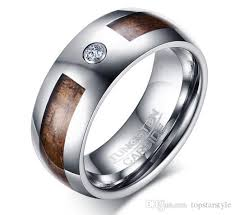8mm koa wood tungsten carbide ring with