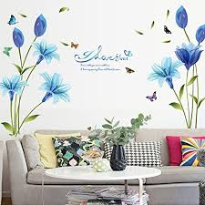 Amazon Com Wmdecal Removable Large Lily Flower Wall Vinyl Decals For Tv Wall Easy To Apply Peel And Stick Wallpaper Art Stickers For Living Room Blue Home Kitchen
