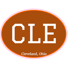 Cle Cleveland Ohio Brown Oval Decal Custom Stickers Cleveland Ohio Bumper Stickers