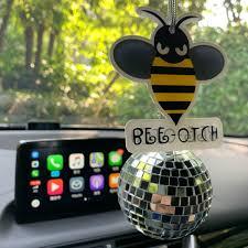 Bling Bumblebee Bee Otch Crystal Car Charm Ornaments Pendant Carsoda