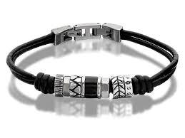 jf8419604 gents beaded leather bracelet