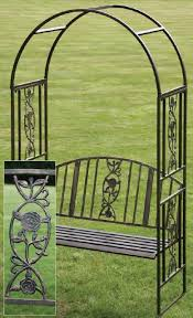 copper finish garden arch with bench