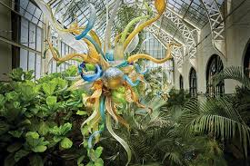 chihuly glass in the biltmore landscape