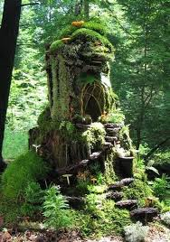 fairy house out of an old tree stump