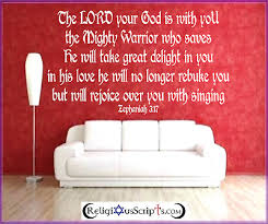Religious Quote Bible Wall Art Sticker Bedroom Lounge God Lord Zephaniah 3 17 Ebay