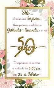 Invitacion 50 Anos Fiesta Sorpresa Gold And Glitter Fiestas De
