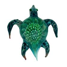 sea turtle cremains encased in glass