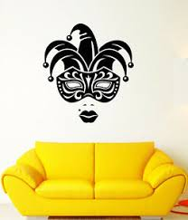 Vinyl Wall Decal Carnival Jester Face Mask Girl Lips Stickers 3291ig Ebay