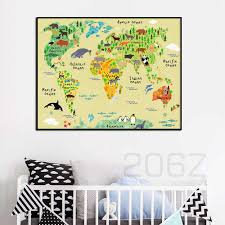 Cartoon Ocean Animals World Map Pirate Treasure Map Nordic Posters And Prints Canvas Painting Wall Pictures Baby Kids Room Decor Painting Calligraphy Aliexpress