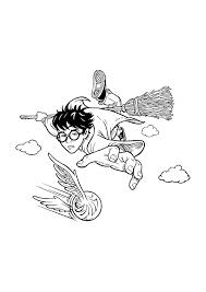 Harry Potter In De Lucht Vliegen Harry Potter Kleurplaten
