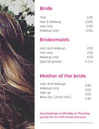 bridal party hair and makeup cost