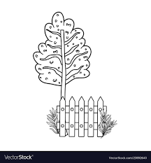 Cute Tree Plant With Fence Scene Royalty Free Vector Image