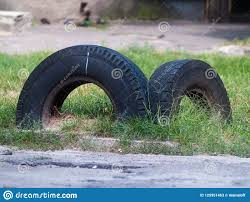 Old Car Tires Dug Into The Ground Stock Image Image Of Tyre Used 125951463