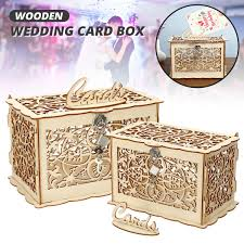 rustic wooden gift card case money box
