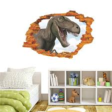 Vivid Dinosaur Broken Hole 3d Wall Sticker Decal For Kids Room Bedroom Home Decoration Creative Jurrasic Animal Wall Mural Art Wall Stickers Aliexpress