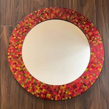 pier 1 wall art red mosaic mirror