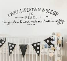 Childrens Wall Decal I Will Lie Down And Sleep In Peace Wall Etsy