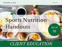 sports nutrition handouts set of 16