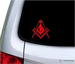 Amazon Com Southern Sticker Company Freemason Masonic Lodge Symbol 3 9x4 2 Inches Size Laptop Car Window Truck Made And Shipped In Usa Red Automotive