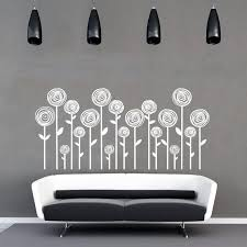 Swirl Flowers Wall Decal Flowers Wall Vinyl Nature Wall Etsy