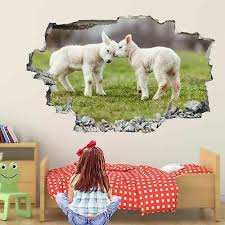 Cute Lambs Sheep Wall Art Stickers Mural Decal Kids Room Home Farm Decor Ez21 Ebay