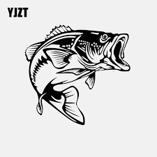 Yjzt 14 5cm 13 7cm Bass Fish Decal Car Sticker Vinyl Fishing Black Silver C24 0734 Car Stickers Aliexpress