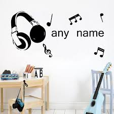 Personalized Music Headphones Wall Sticker Artistic Pod