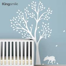 Modern Fawn Tree Deer Wall Stickers Nursery White Tree Branches Wall Art Decals Baby Kids Room Home Decorations Size 198 141 Cm Home Decor Wall Stickerdeer Wall Sticker Aliexpress