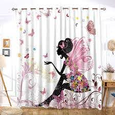 Pink Butterfly Girly Kids Window Curtain Chic For Girls Room