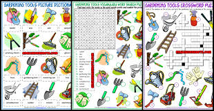 gardening tools esl voary worksheets
