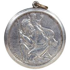 st christopher silver round pendant