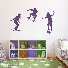 Girl Skateboarder Decal Set Of Three Wall Decals Etsy