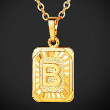 necklace 18k gold plated square shape