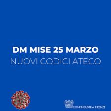 DM MiSE 25 marzo - NUOVI CODICI ATECO - Confindustria Firenze
