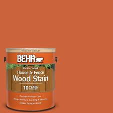 Behr 1 Gal 220b 7 Electric Orange Solid Color House And Fence Exterior Wood Stain 03001 The Home Depot