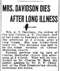 Elizabeth Adeline Howell Davidson, Death Notice - Newspapers.com