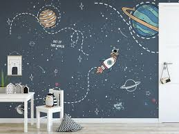 Self Adhesive Peel And Stick Kids Wallpaper Removable Space Wall Mural Outer Space Wallpaper Colorful Planets Wall Mural Kids Room Nursery In 2020 Boys Room Wallpaper Space Themed Bedroom Kids Room