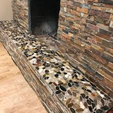 stone fireplace w river rock hearth yelp
