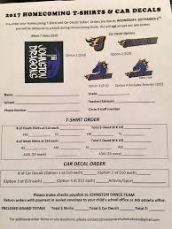 Johnston Dance Team On Twitter 2017 Homecoming T Shirt Car Decal Order Forms Are Here Due 9 6 Turn Into School Office Or Hs Athletic Office