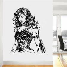 Wxduuz Wonder Woman Justice League Super Hero Bedroom Decal Wall Art Sticker Vinyl Living Room Space Wall Sticker B526 Space Wall Stickers Wall Stickerwall Art Stickers Aliexpress
