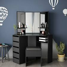 black corner dressing table with 5