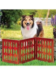 Etna 3 Panel Retro Design Wood Pet Gate Freestanding Tri Fold Dog Fence For Doorways Stairs Indoor Outdoor Pet Barrier Mahogany Finish 48 W X 19 Tall Walmart Com Walmart Com
