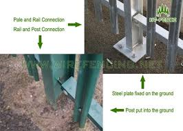 Triple Section Palisade Fence Security With Galvanized And Pvc Coated
