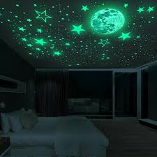 Luminous Moon And Stars Wall Stickers For Kids Room Baby Nursery Home Decoration Wall Decals Glow In The Dark Bedroom Ceiling Wall Stickers Aliexpress